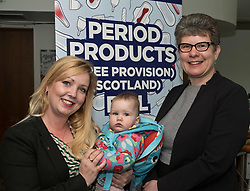 Pictured: Cllr Kelly Parry, CoSLA Comminity Wellbeing Spokeperson, Isla Parry 13 months and CoSLA president Cllr Alison Evision<br /> <br /> Labour health spokeswoman Monica Lennon will formally lodge her period poverty Member's Bill to help make Scotland a world leader for period poverty. Ms Lennon was joined by members from CoSLA, Comminication Workers Union, representatives from YWCA,  girl guides, local and national politicians in Edinburgh before her Bill was laid before the Scottish Parliament<br /> <br /> <br /> Ger Harley | EEm 24 April 2019