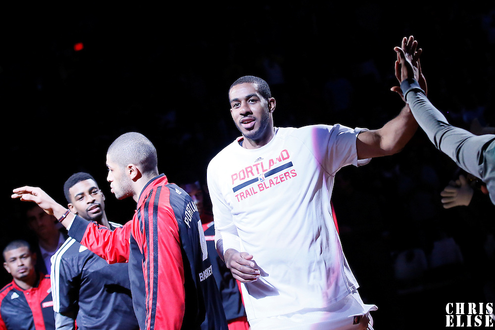 04 December 2013: Portland Trail Blazers power forward LaMarcus Aldridge (12) is seen during the players introduction prior to the Portland Trail Blazers 111-104 victory over the Oklahoma City Thunder at the Moda Center, Portland, Oregon, USA.