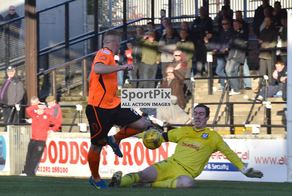 Ayr keeper Shaun Newton saves from Stranraer striker Mark McGuigan......(c) BILLY WHITE | SportPix.org.uk