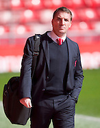 Liverpool manager Brendan Rodgers arrives at the stadium before the Barclays Premier League match at Anfield, Liverpool<br /> Picture by Russell Hart/Focus Images Ltd 07791 688 420<br /> 22/03/2015