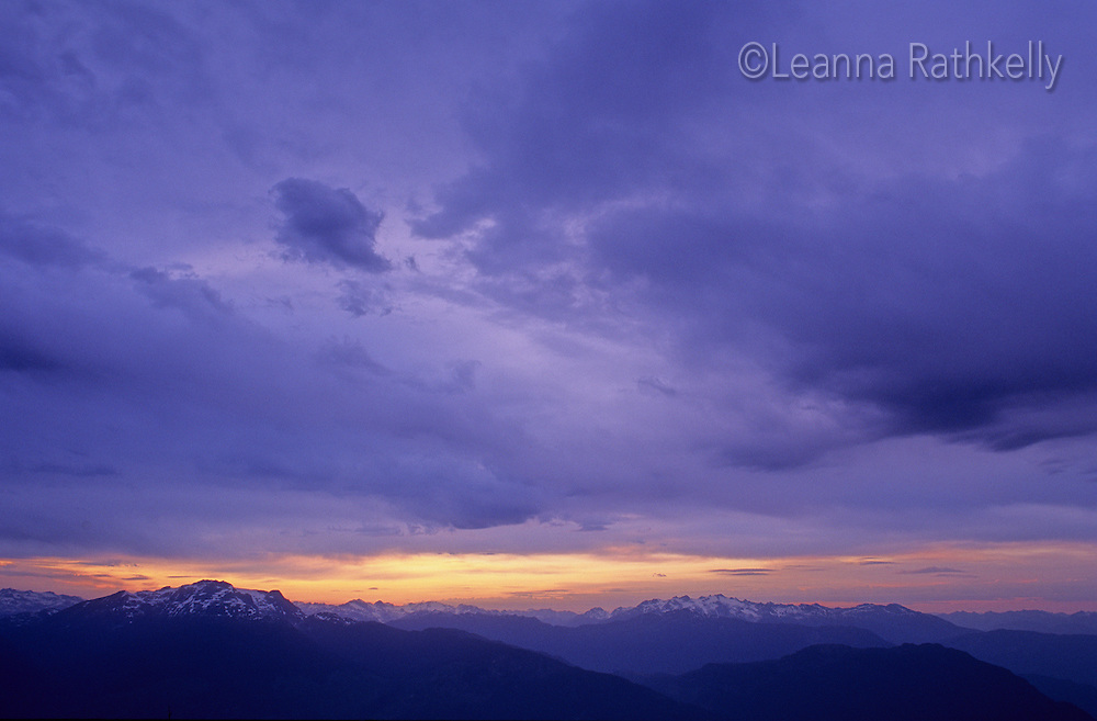 Purple sky at sunset, over the Coast Mountains near Whistler, BC