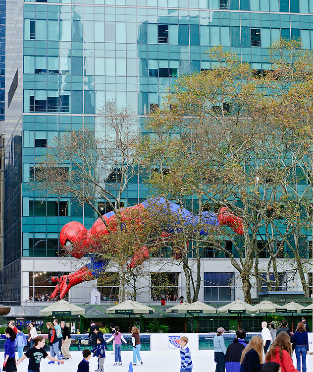 New York City, New York, Bryant Park, Ice Skating, Macy's Thanksgiving Day Parade, floats, Spiderman