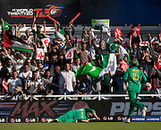 Shoaib Malik four past Albie Morkel and Graeme Smith during the ICC World Twenty20 Cup semi-final between South Africa and Pakistan at Trent Bridge. Photo © Graham Morris (Tel: +44(0)20 8969 4192 Email: sales@cricketpix.com)