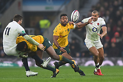November 18, 2017 - London, England, United Kingdom - England's Elliot Daly tackled by Australias Marika Koroibete during Old Mutual Wealth Series between England against Argentina at Twickenham stadium , London on 11 Nov 2017  (Credit Image: © Kieran Galvin/NurPhoto via ZUMA Press)