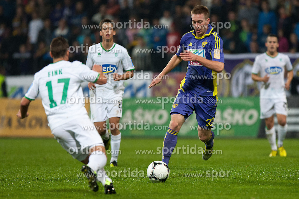 Robert Beric of NK Maribor during football match between NK Maribor and NK Olimpija Ljubljana in 14th Round of Slovenian First League PrvaLiga NZS 2012/31 on October 20, 2012 in Stadium Ljudski vrt, Maribor, Slovenia. (Photo By Gregor Krajncic / Sportida)