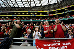 DUBLIN, REPUBLIC OF IRELAND - Saturday, August 5, 2017: Liverpool supporters celebrate the second goal during a preseason friendly match between Athletic Club Bilbao and Liverpool at the Aviva Stadium. (Pic by David Rawcliffe/Propaganda)