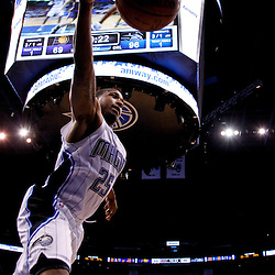 March 11, 2012; Orlando, FL, USA; Orlando Magic point guard Chris Duhon (25) saves a ball from going out bounds during the fourth quarter of a game against the Indiana Pacers at  Amway Center. The Magic defeated the Pacers 107-94.  Mandatory Credit: Derick E. Hingle-US PRESSWIRE