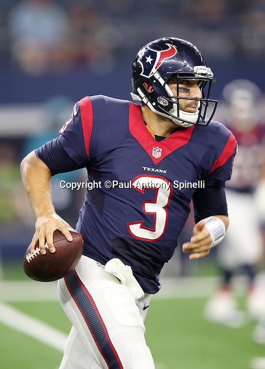 Houston Texans quarterback Tom Savage (3) scrambles during the 2015 NFL preseason football game against the Dallas Cowboys on Thursday, Sept. 3, 2015 in Arlington, Texas. The Cowboys won the game 21-14. (©Paul Anthony Spinelli)