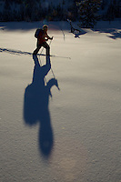 Russell Laman (age 12) cross-country skiing below the Teton Range.<br />