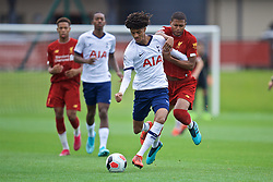 KIRKBY, ENGLAND - Saturday, August 10, 2019: Tottenham Hotspur's Brooklyn Lyons-Foster (L) and Liverpool's Rhian Brewster during the Under-23 FA Premier League 2 Division 1 match between Liverpool FC and Tottenham Hotspur FC at the Academy. (Pic by David Rawcliffe/Propaganda)