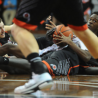 Washington's Carter Keller and St. Paul Central's Jacob Johnson battle for a loose ball during the 2015 Boys Pentagon Classic at the Sanford Pentagon on Saturday, Jan. 3, 2015.