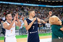 Sani Becirovic and Bostjan Nachbar during basketball event Kosarkaska simfonija - last offical basketball match of Bostjan Nachbar and Sani Becirovic, on August 30, 2018 in Arena Stozice, Ljubljana, Slovenia. Photo by Urban Urbanc / Sportida
