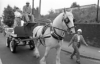 Yorkshire Mining Museum horse & cart. 1990 Yorkshire Miner's Gala. Rotherham.