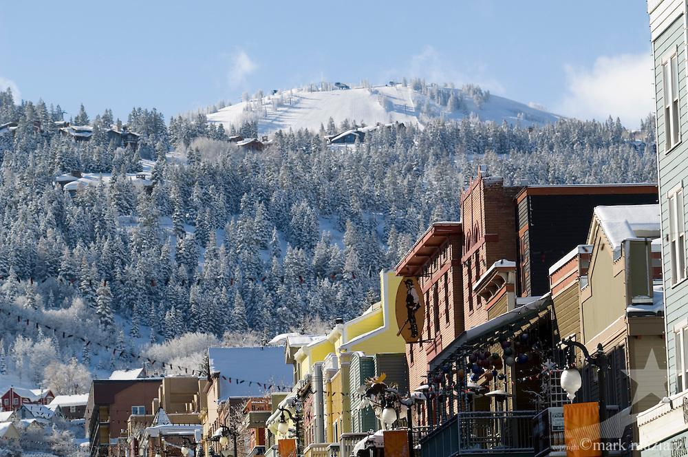 winter morning after storm on Main Street, Park City Utah