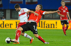 06.09.2011, Ernst Happel Stadion, Wien, AUT, UEFA EURO 2012, Qualifikation, Oesterreich (AUT) vs Tuerkei (TUR), im Bild Zweikampf zwischen Sabri Sarioglu, (TUR, #22) und Marko Arnautovic, (AUT, #7) // during the UEFA Euro 2012 Qualifier Game, Austria vs Turkey, at Ernst Happel Stadium, Vienna, 2011-09-06, EXPA Pictures © 2011, PhotoCredit: EXPA/ M. Gruber
