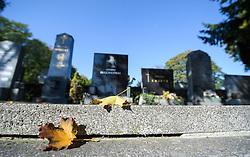 THEMENBILD - Herbst im Wiener Zentralfriedhof. Das Bild wurde am  14. Oktober 2012 aufgenommen. im Bild Laubblätter auf Grabstein // THEME IMAGE FEATURE - Autumn in Vienna at viennese central cemetery. The image was taken on october, 14th, 2012. Picture shows leafes at gravestone, AUT, EXPA Pictures © 2012, PhotoCredit: EXPA/ M. Gruber