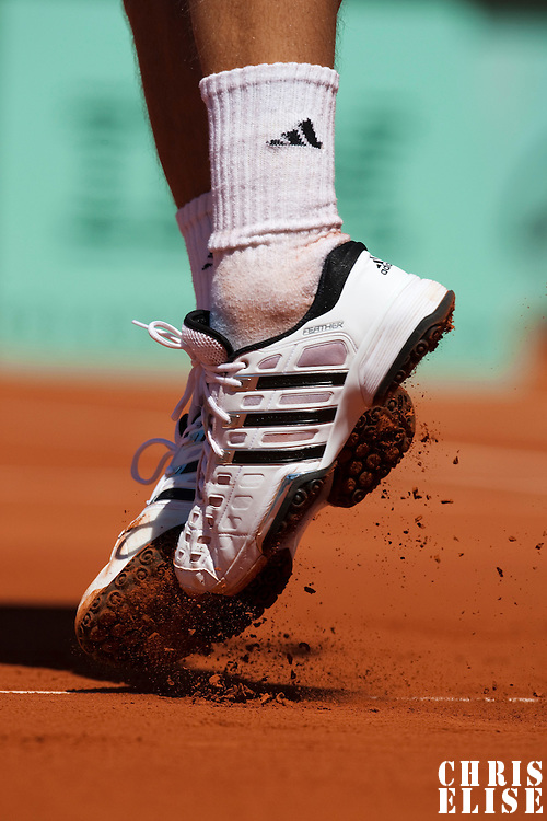 30 May 2009: Details of Jurgen Melzer of Austria during the Men's Singles third round match on day seven of the French Open at Roland Garros in Paris, France.