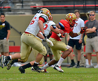 NCAA FCS: VMI football spring scrimmage - running back Ethan Preston breaks into the secondary during VMI's spring scrimmage on Saturday in Lexington.