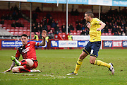 Oxford midfielder Liam Sercombe scores a goal to make it 1-3 to Oxford United during the Sky Bet League 2 match between Crawley Town and Oxford United at the Checkatrade.com Stadium, Crawley, England on 9 April 2016. Photo by David Charbit.