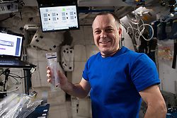 October 2, 2018 - Space - International Space Station astronaut RICKY ARNOLD works with a student-designed experiment using NanoRacks commercial science hardware. The study is researching the impacts of microgravity on tissue regeneration, concrete properties, antibiotics, and the growth of plant, fungi and bacteria. The research introduces students to the principles of space science possibly leading to a career as scientists. (Credit Image: © NASA/ZUMA Wire/ZUMAPRESS.com)