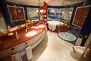 Jumeirah, Burj Al Arab, the World's most luxurious hotel. A Duplex Suite. Bathroom with jacuzzi.