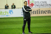 Forest Green Rovers manager, Mark Cooper watching the warm up during the Vanarama National League match between Solihull Moors and Forest Green Rovers at the Automated Technology Group Stadium, Solihull, United Kingdom on 25 October 2016. Photo by Shane Healey.