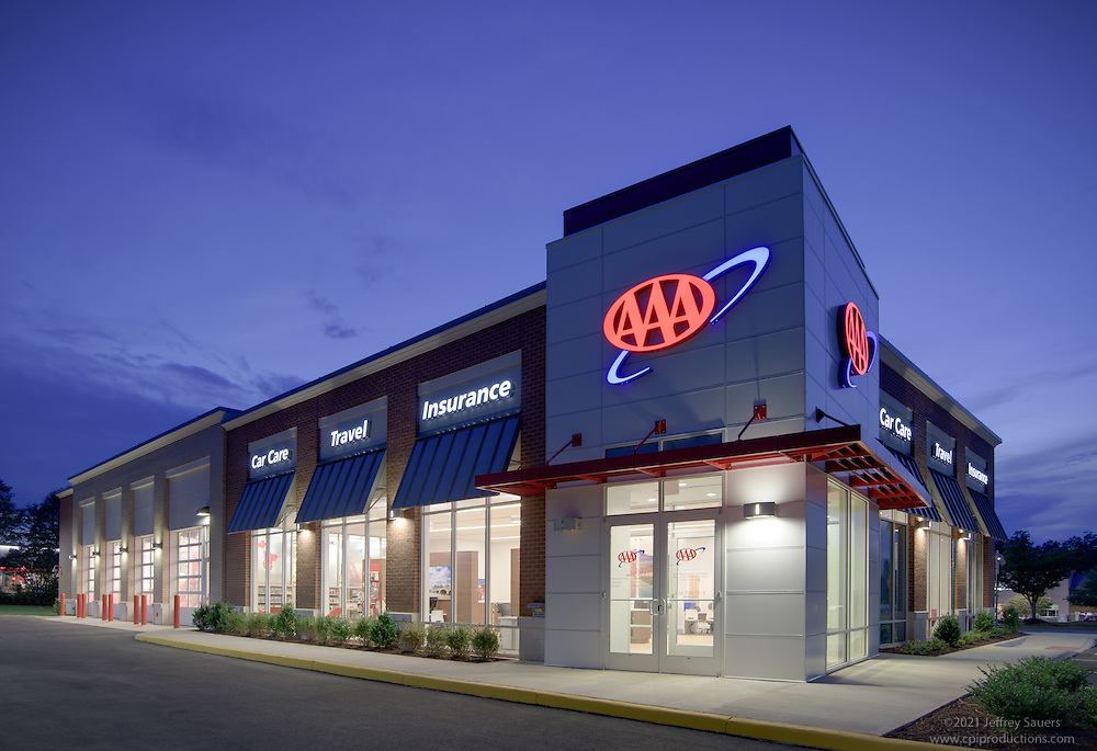 Retail exterior image of AAA Midlothian Virginia Store in Richmond by Jeffrey Sauers of Commercial Photographics, Architectural Photo Artistry in Washington DC, Virginia to Florida and PA to New England