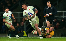 Nathan Hughes of England is tackled - Mandatory by-line: Robbie Stephenson/JMP - 18/11/2017 - RUGBY - Twickenham Stadium - London, England - England v Australia - Old Mutual Wealth Series