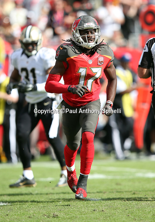 Tampa Bay Buccaneers wide receiver Donteea Dye (17) jogs back to the huddle during the 2015 week 14 regular season NFL football game against the New Orleans Saints on Sunday, Dec. 13, 2015 in Tampa, Fla. The Saints won the game 24-17. (©Paul Anthony Spinelli)