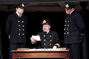 Titanic <br /> at The Charing Cross Theatre, London, Great Britain <br /> press photocall <br /> 3rd June 2016 <br /> <br /> Director Thom Southerland<br /> Musical Staging Cressida Carr&eacute;<br /> Musical Director Mark Aspinall<br /> Set &amp; Costume Designer David Woodhead<br /> Lighting Designer Howard Hudson<br /> Sound Designer Andrew Johnson<br /> <br /> <br /> <br /> <br /> <br /> Scott Cripps as Murdoch <br /> Philip Rham as Captain Edwards <br /> Alistair Barron as Lightoller <br /> <br /> <br /> <br /> <br /> <br /> Photograph by Elliott Franks <br /> Image licensed to Elliott Franks Photography Services