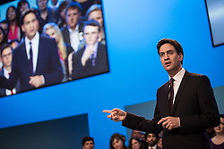 © Licensed to London News Pictures . 24/09/2013 . Brighton , UK . ED MILIBAND delivers the Leader's Speech to the Labour Party conference , this afternoon (24th September 2013) . Day 3 of the Labour Party Conference in Brighton . Photo credit : Joel Goodman/LNP