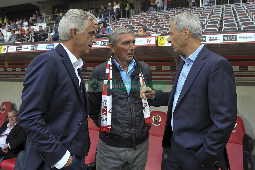 September 9, 2017 - Nice, France - Jean Pierre Rivere (president de l OGC Nice) - Roger Jouve (ancien joueur de l OGC Nice) - Lucien Favre  (Credit Image: © Panoramic via ZUMA Press)