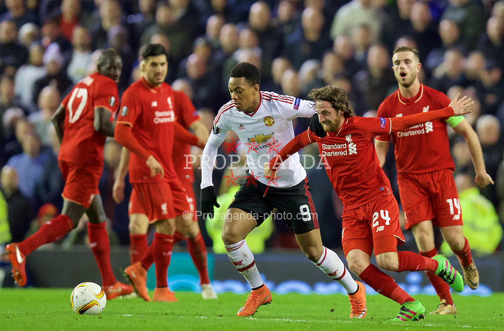 LIVERPOOL, ENGLAND - Thursday, March 10, 2016: Liverpool's Joe Allen in action against Manchester United's Anthony Martial during the UEFA Europa League Round of 16 1st Leg match at Anfield. (Pic by David Rawcliffe/Propaganda)