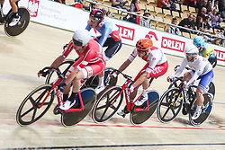 March 2, 2019 - Pruszkow, Poland - Szymon Sajnok (POL), Niklas Larsen (DEN), Christos Volikakis (GRE) compete in the Men's Omnium scratch race on day four of the UCI Track Cycling World Championships held in the BGZ BNP Paribas Velodrome Arena on March 02 2019 in Pruszkow, Poland. (Credit Image: © Foto Olimpik/NurPhoto via ZUMA Press)