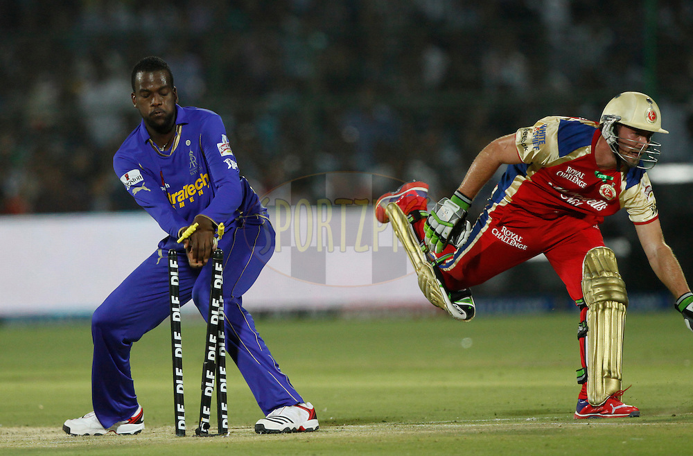 Rajasthan Royals player Kevon Cooper take the wicket bails out unsuccessfully to during match 30 of the the Indian Premier League ( IPL) 2012  between The Rajasthan Royals and the Royal Challengers Bangalore held at the Sawai Mansingh Stadium in Jaipur on the 23rd April 2012..Photo by Pankaj Nangia/IPL/SPORTZPICS