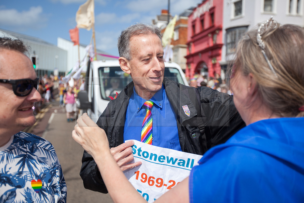 @Licensed to London News Pictures 10/08/2019. Margate, Kent. Peter Tatchell the LGBT rights campaigner along with member of the local community enjoying the culmination of Margate Pride week today during the Margate Pride Day rally. Photo credit: Manu Palomeque/LNP