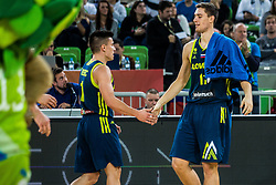 Matic Rebec of Slovenia  and Jan Kosi of Slovenia during basketball match between National teams of Slovenia and Latvia in Round #10 of FIBA Basketball World Cup 2019 European Qualifiers, on December 2, 2018 in Arena Stozice, Ljubljana, Slovenia. Photo by Grega Valancic