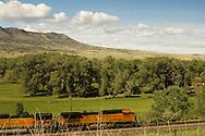 Burlington Northern Santa Fe Train passes Sheep Mountain east of Livingston, Montana