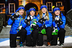 March 16, 2019 - –Stersund, Sweden - 190316 Hanna Öberg, Linn Persson, Mona Brorsson and Anna Magnusson of Sweden celebrate during the medal ceremony for the Women's 4x6 km Relay during the IBU World Championships Biathlon on March 16, 2019 in Östersund..Photo: Petter Arvidson / BILDBYRÃ…N / kod PA / 92270 (Credit Image: © Petter Arvidson/Bildbyran via ZUMA Press)