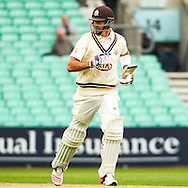 Kevin Pietersen of Surrey County Cricket Club scores 1000 runs for the club in 17 innings during the LV County Championship Div Two match at the Kia Oval, London<br /> Picture by Mark Chappell/Focus Images Ltd +44 77927 63340<br /> 26/04/2015
