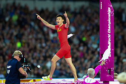 London, August 08 2017 . Changrui Xue, China, in the men's pole-vault final on day five of the IAAF London 2017 world Championships at the London Stadium. © Paul Davey.