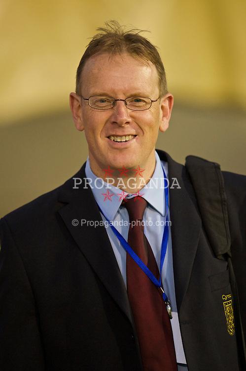 PODGORICA, MONTENEGRO - Wednesday, August 12, 2009: Wales' head of international affairs Mark Evans during an international friendly match against Montenegro at the Gradski Stadion. (Photo by David Rawcliffe/Propaganda)