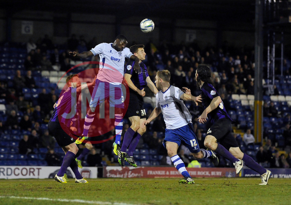 Bristol Rovers' Tom Lockyer attempts to win a header in the box - Photo mandatory by-line: Dougie Allward/JMP - Mobile: 07966 386802 01/04/2014 - SPORT - FOOTBALL - Bury - Gigg Lane - Bury v Bristol Rovers - Sky Bet League Two