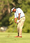 Jul 30, 2005; Grand Blanc, MI, USA; Tournament leader Vijay Singh launches his approach shot on the eighteenth hole during play Saturday at the 2005 Buick Open, Warwick Hills Golf & Country Club. Copyright © 2005 Kevin Johnston