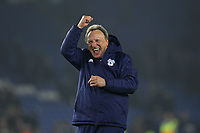Football - 2018 / 2019 Premier League - Brighton and Hove Albion vs. Cardiff City<br /> <br /> Cardiff City Manager Neil Warnock celebrates in front of the traveling Cardiff fans at The Amex Stadium Brighton <br /> <br /> COLORSPORT/SHAUN BOGGUST