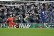 Chelsea midfielder Jorginho (5) scores his penalty, during the EFL Cup semi final second leg match between Chelsea and Tottenham Hotspur at Stamford Bridge, London, England on 24 January 2019.