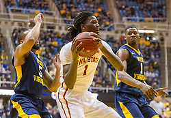 Feb 22, 2016; Morgantown, WV, USA; Iowa State Cyclones forward Jameel McKay (1) drives to the basket during the first half against the West Virginia Mountaineers at the WVU Coliseum. Mandatory Credit: Ben Queen-USA TODAY Sports