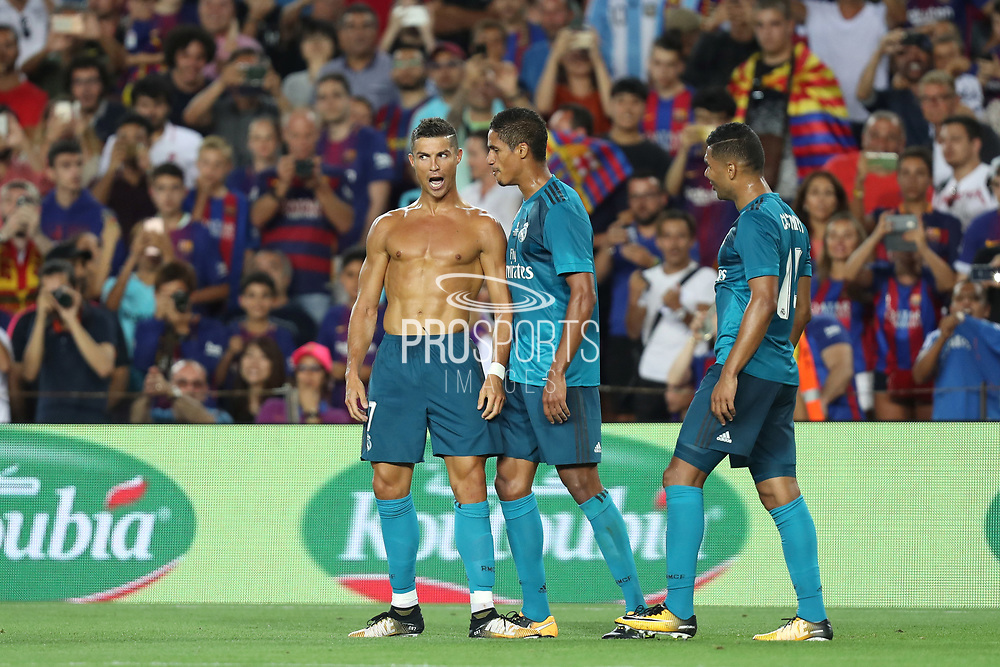 Cristiano Ronaldo of Real Madrid celebrates after scoring his side's second goal during the Spanish Super Cup football match between FC Barcelona and Real Madrid on August 13, 2017 at Camp Nou stadium in Barcelona, Spain. - Photo Manuel Blondeau / AOP Press / ProSportsImages / DPPI