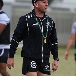DURBAN, SOUTH AFRICA, 7,JULY, 2016 - Johan Pretorius Head Strength & Conditioning Coach during The Cell C Sharks training session at Growthpoint Kings Park in Durban, South Africa. (Photo by Steve Haag)<br /> <br /> images for social media must have consent from Steve Haag