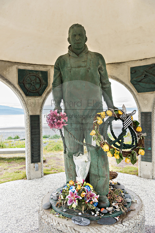 The Seafarers Memorial remembering the lives lost at sea for sailors and fisherman along Homer Spit on Kamishak Bay in Homer, Alaska.